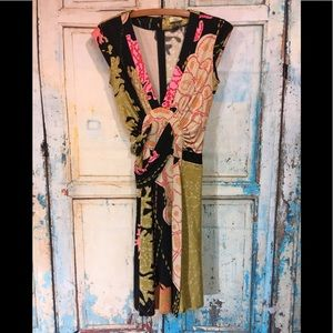 ISSA London Silk Jersey Floral Faux Wrap Dress 6